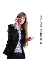 surpreendido, mulher negócio, falar telefone pilha
