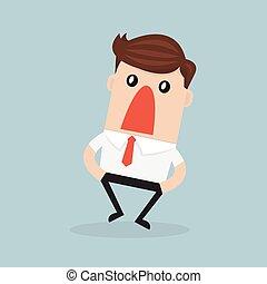 surpreendido, ou, chocado, homem negócios, com, largo aberto, boca