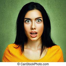 surpreendido, rosto, de, espantado, chocado, mulher