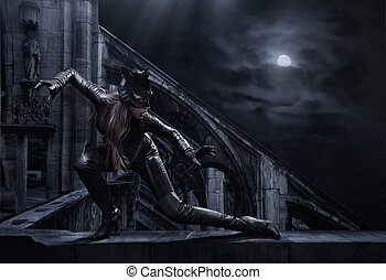surprenant, catwoman, chasse, nuit