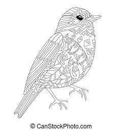 surprenant, coloration, ton, page, oiseau