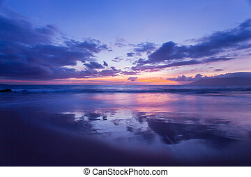 surprenant, coucher soleil, hawaï