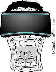 surprenant, expression, réalité virtuelle