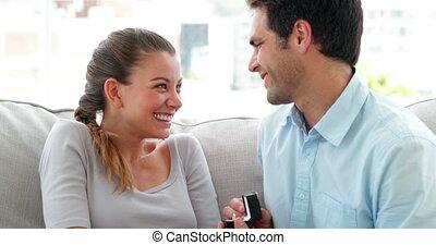 surprenant, homme, proposition, sien, petite amie