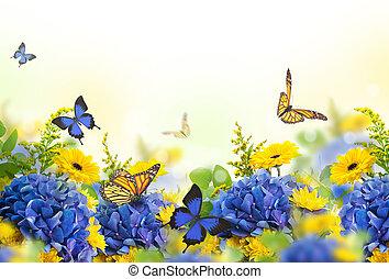 surprenant, hydrangeas, fond, daisies.