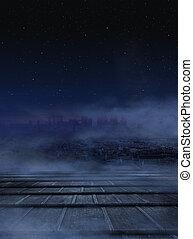 surprenant, nuit, vue ville