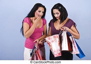 surpris, achats, femme