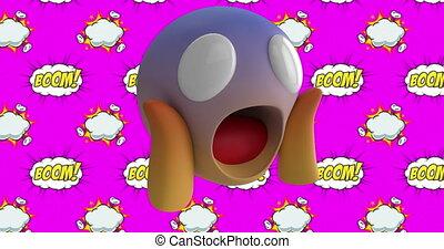 surpris, fond, rose, figure, emoji, sur, texte, contre, bulle, parole, boom