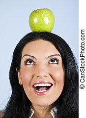 surpris, tête, femme, pomme, prise