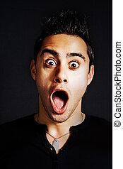 Surprise concept - amazed funny young man - Surprise concept...