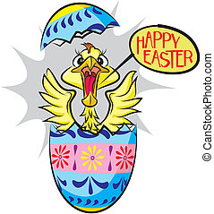 surprise easter egg with chick - happy easter - shouting...