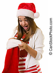 Surprise in a stocking - Attractive woman wearing red and...