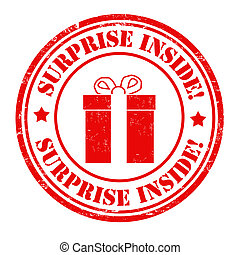 Surprise inside stamp - Surprise inside grunge rubber stamp...
