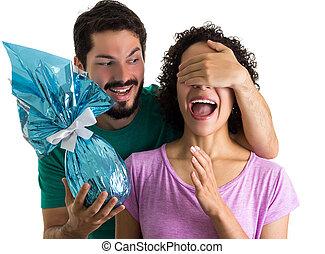 surprise, marques, gift., paques, petit ami