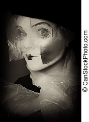 surprise, mime, voile, portrait