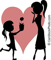 Surprise Mom! Flower from daughter - Lovely cartoon-style...