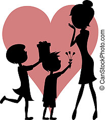 Surprise Mom! Son and daughter - Lovely cartoon-style vector...
