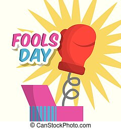 surprise prank box with glove fools day vector illustration