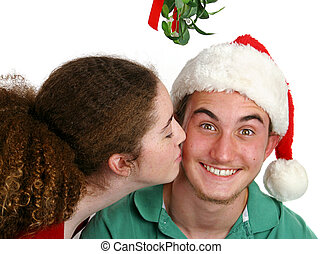 Surprise Smooch - A teen girl kissing a very surprised boy...