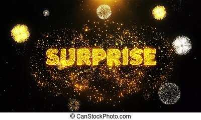 Surprise Text on Firework Display Explosion Particles.