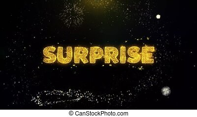 Surprise Text on Gold Particles Fireworks Display.
