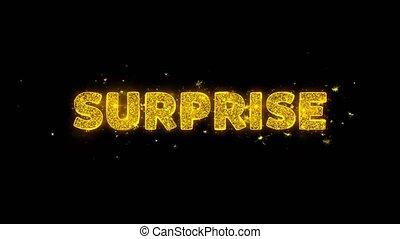 Surprise Text Sparks Particles on Black Background.