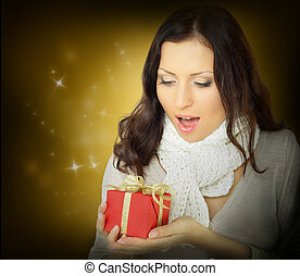 Surprise woman with Christmas gift