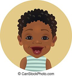Surprised Afro American baby emoticon. Astonished African child smiley. Cute amazed dark-skinned toddler facial expression avatar