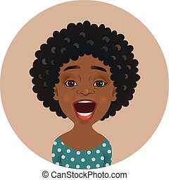 Surprised Afro American woman avatar. Astonished African girl emoticon. Cute amazed dark-skinned person facial expression
