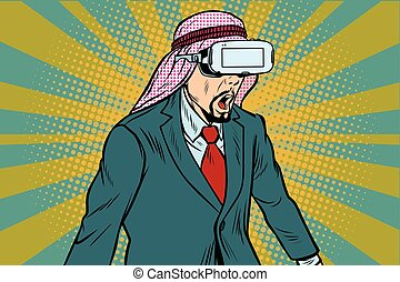 Surprised Arab businessman in VR glasses. Virtual reality...