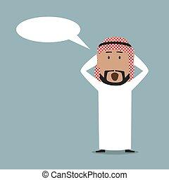 Surprised arabian businessman with speech bubble