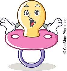 Surprised baby pacifier character cartoon