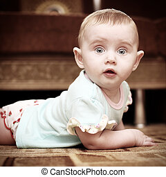 Surprised Baby - Surprised Little Baby on the Floor in Home...