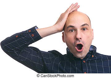 surprised bald man. Isolated
