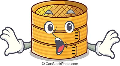 Surprised bamboo steamer food isolated on mascot