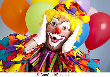 Surprised Birthday Clown - Birthday clown in full costume,...