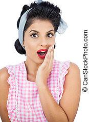 Surprised black hair model posing