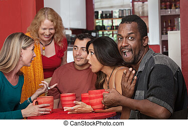 Surprised Black man with Friends