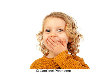 Surprised blond child with blue eyes