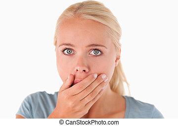 Surprised blond woman