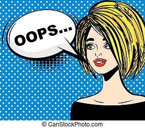 Surprised blonde pop art oops