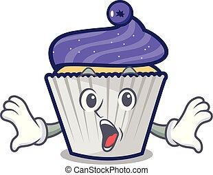 Surprised blueberry cupcake mascot cartoon