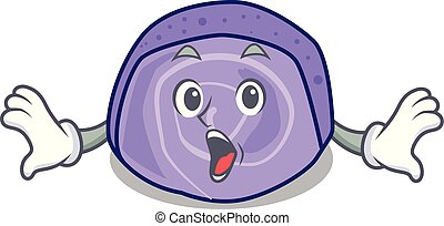 Surprised blueberry roll cake mascot cartoon