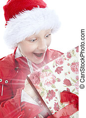 surprised boy opening present over white