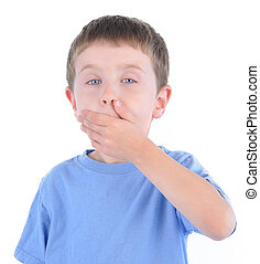 Surprised Boy with Secret on White