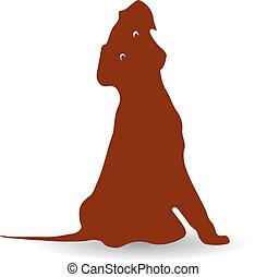 Surprised brown dog, silhouette on white background.