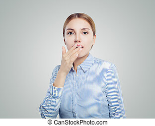 Surprised business woman or student on white background