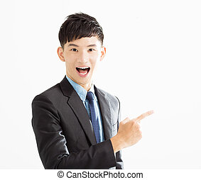 surprised Businessman pointing copy space