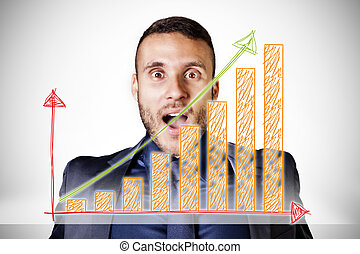 surprised businessman with upswing diagram on a white background