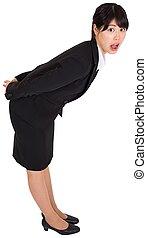 Surprised businesswoman bending - Surprised asian...